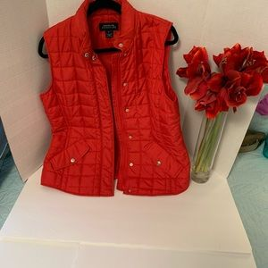 Jones New York Lined Red Puffer Vest Size Large